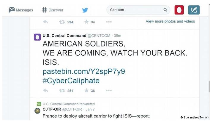 黑客在美国中央司令部推特帐号上发布的一则消息
