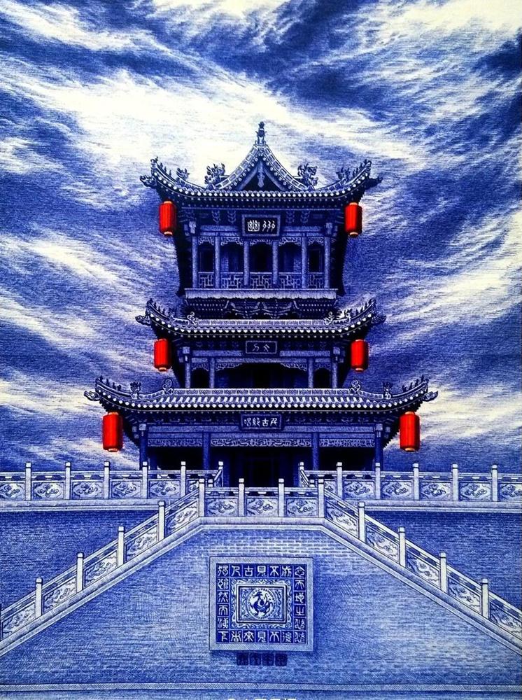 图 原子笔画的蓝色大院 网络图片