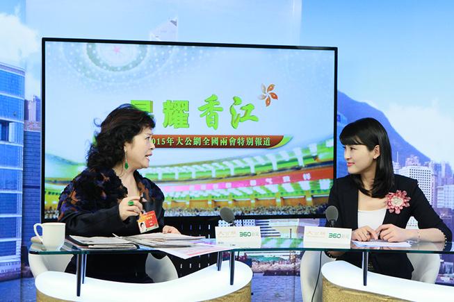 3月9日,全国政协委员、光彩明天儿童眼科医院董事长冯丹藜接受大公网专访。大公网 张文杰摄