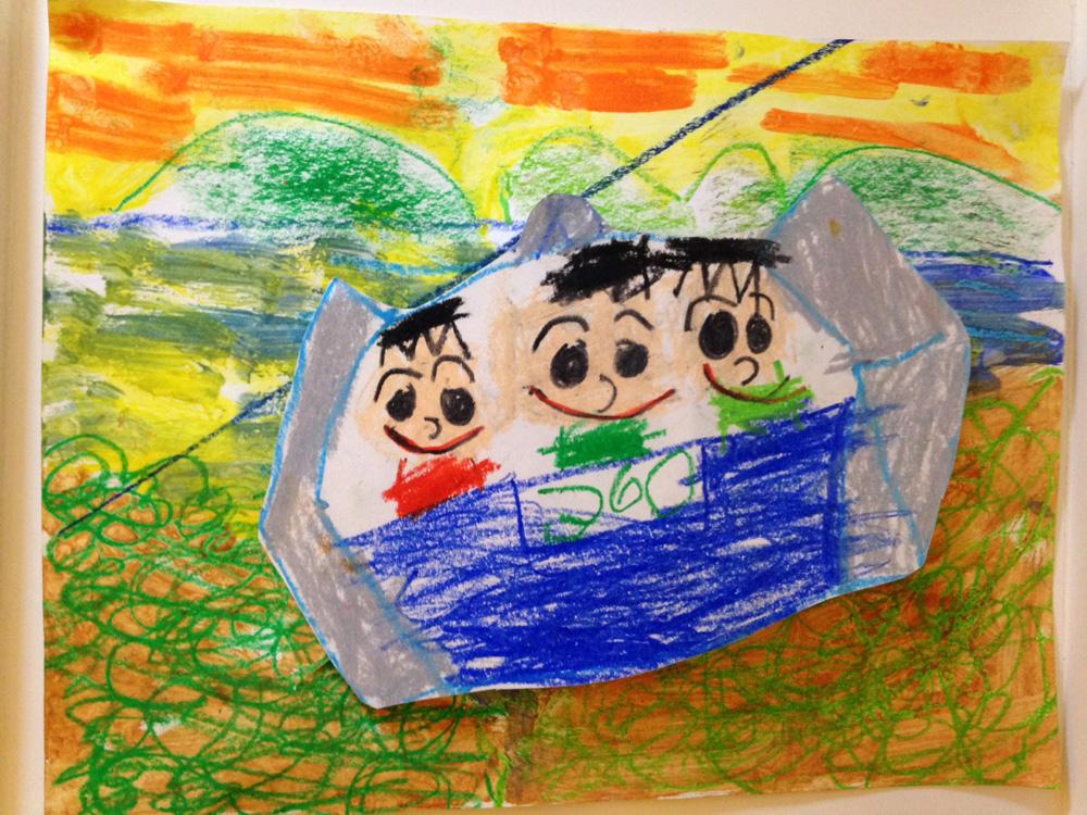 两个小孩拥抱卡通画