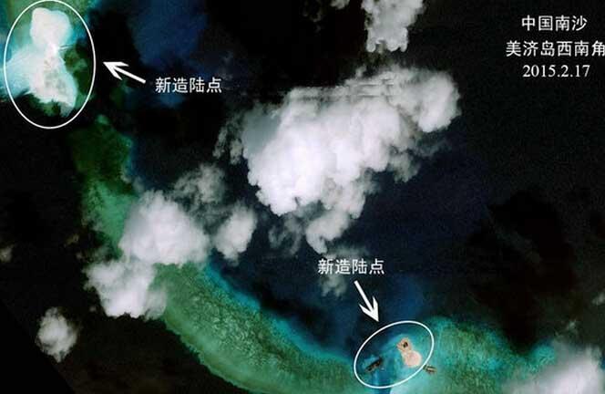 中国南海岛礁填海造地引关注 外媒:规模大速度快