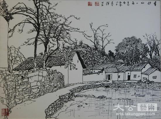 风景山水速写-黄永玉关门弟子彩墨画展长沙举行
