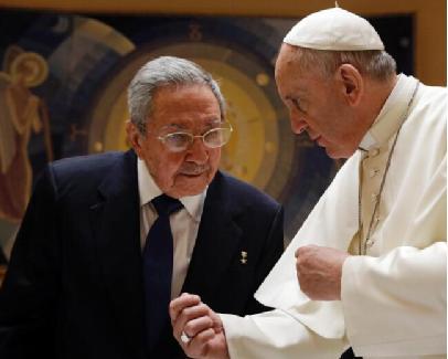 """古巴共产党""""一把手""""感谢教皇 声称或重返教会"""