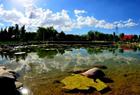 甘肃戈壁湿地水天相映