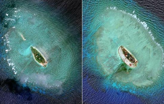 """左图为2011年拍摄、右图为2015年拍摄的敦谦沙洲(图片来源:新华/路透)   从海南某机场起飞,一直向南,海水瓦蓝瓦蓝的,星星点点的岛礁,边沿与海水相接,泛出半透明的碧绿。""""我们的南海,就是这么美。""""北海舰队航空兵飞行员丁家和上校,曾在这片海天多次穿行。   丁家和上校说,每次在海上执行任务,从空中俯瞰那些被其他国家占据的岛礁,心里会很难受。这些岛礁变化很快,这次去看还无人控制,下次可能就有人上去了,有了建筑物,再隔一段时间就发现机场在扩大,还竖起了导弹发射架。   而他们的"""