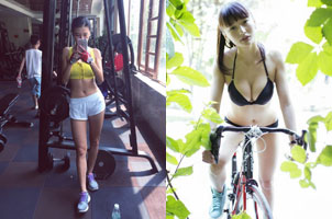 自行车女神晒健身照