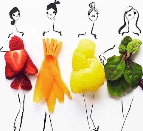 用蔬菜速写你的时尚 创意的时装你想不到