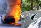 男子疑他人跟蹤燒砸車輛 持斧追砍車主