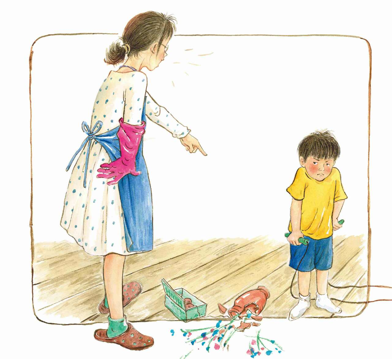 """8月10日,儿童文学作家彭懿和画家九儿的原创绘本《不要和青蛙跳绳》将与广大读者见面。   这本书是彭懿和九儿合作完成的又一本""""治愈系""""原创图画书。书中讲述了小男孩壳壳在自己心爱的跳棋被妈妈扔掉后,通过天马行空的幻想来舒缓自己愤怒的负面情绪,并在一个人的幻想游戏中获得成长的力量,再一次发现自己对妈妈的爱。   妈妈无法理解一副缺了棋子的跳棋对孩子而言是多么特别,孩子也无法理解处理掉这样一副跳棋对妈妈来说是多么平常;妈妈无法理解孩子在客厅跳绳是为了表达委屈,孩子也无法理解妈妈说&"""