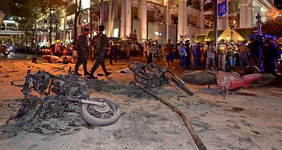 发生在泰国曼谷的爆炸案现场