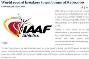田徑世錦賽總獎金超700萬 冠軍6萬破紀錄10萬