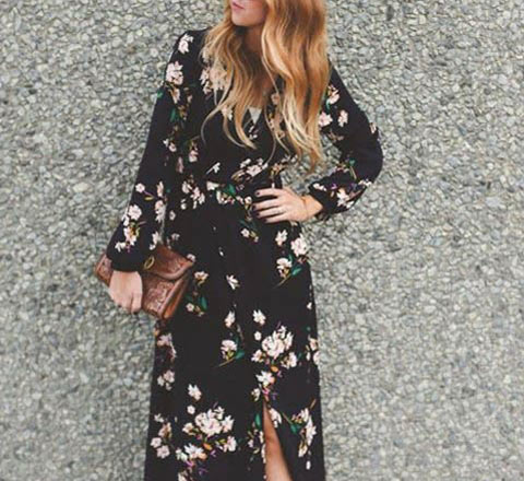 保暖又仙儿的印花大长裙 抓住秋季最后一抹色彩
