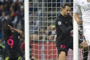 欧冠皇马1-0大巴黎 伊布错失机会抱柱叹息