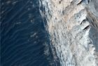 火星地表峽谷層疊起伏