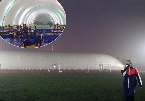 北京一學校建充氣膜體育館抵抗霧霾