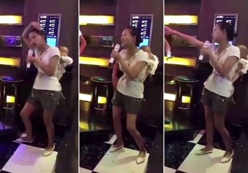潮妈背婴儿K歌热舞