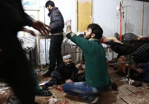 俄罗斯和叙利亚政府军无差别轰炸现场