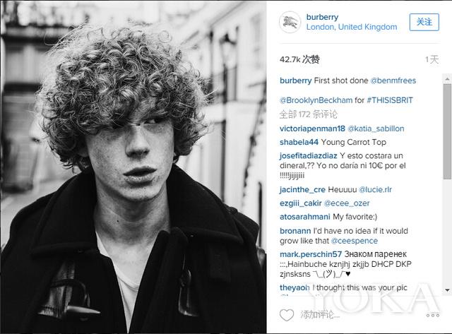 布鲁克林-贝克汉姆为Burberry拍摄广告大片