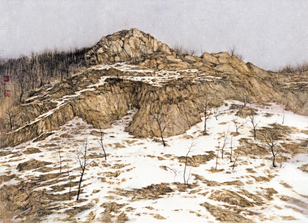 他的风景绘画则具有强烈的主观视角和诗意情怀,尤其是以黄土高原的
