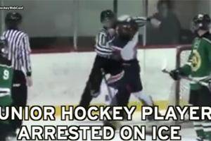 21岁冰球选手不服判罚 殴打并向裁判吐痰遭拘捕