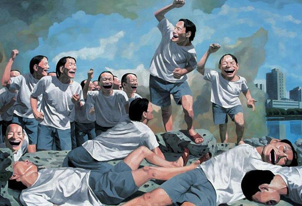 大笑的人脸频繁出现在岳敏君画作中