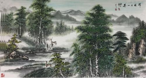 紫艺绘画作品:桦林又一春