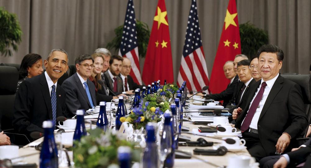 2016年3月31日,國家主席習近平在華盛頓會議中心會見美國總統奧巴馬。