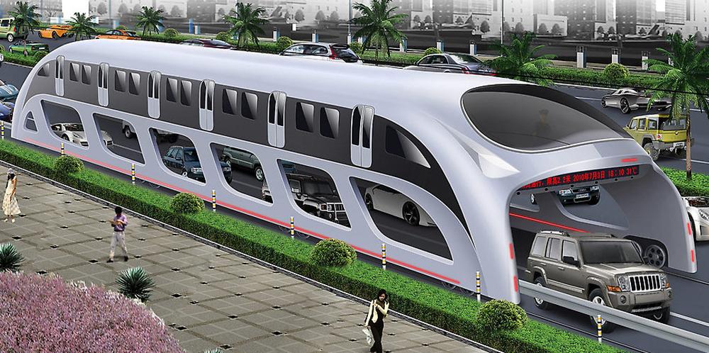 圖:一次可以搭載1200名乘客,並以電力驅動,環保節能  網絡圖片   在現代城市中,交通擠塞是一件讓人煩心的事。有中國工程師提出一個創意,試圖解決這個問題。最近,國外各大媒體紛紛報道了中國的一項新科技。在今年5月舉行的北京科博會上,一輛全新的高架巴士登台亮相,被稱做立體快巴。這種巴士在汽車上方行駛,車流在下方通過,一次可容納1200人,被稱為解決交通擠塞的神器!   在科博會上展示的是立體快巴的縮小模型。開發立體快巴的幕後公司是巴鐵科技發展有限公司,該公司又將它叫作巴鐵。從模型看,立體快巴似