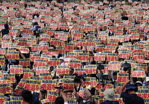 日本冲绳6.5万民众集会 要求美军撤走