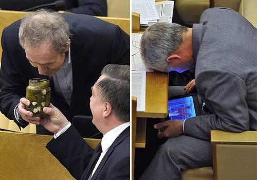 俄媒分享俄议员开会日常