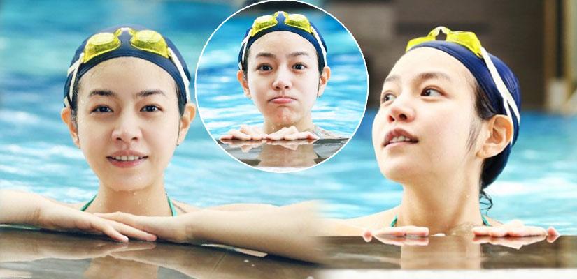 陳妍希挺孕肚游泳 素顏賣萌膚質感人