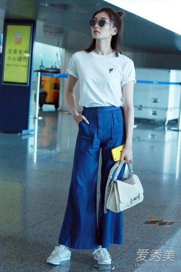 白t+闊腿褲
