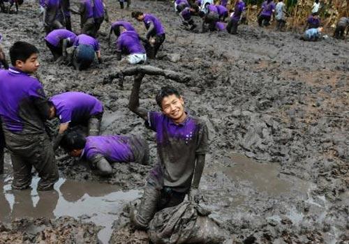 重庆一大学师生下田比赛挖藕 展现田间行为艺术