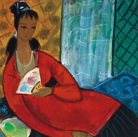 林风眠 《红衣仕女》 1989年 纸本彩墨,69×69cm