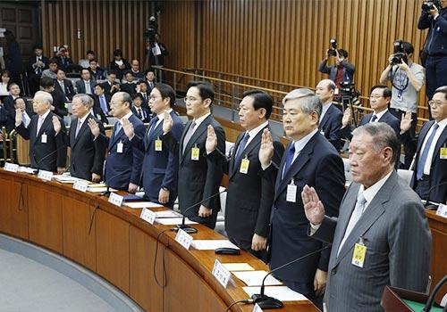 韓國會拷問八大財團巨頭