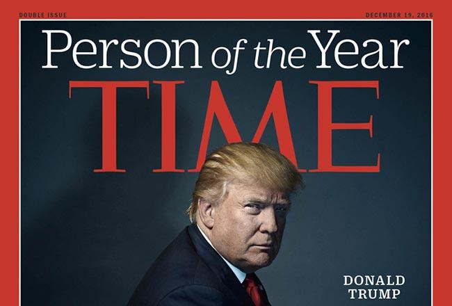 """特朗普成《时代》风云人物 被称""""分裂国总统"""""""