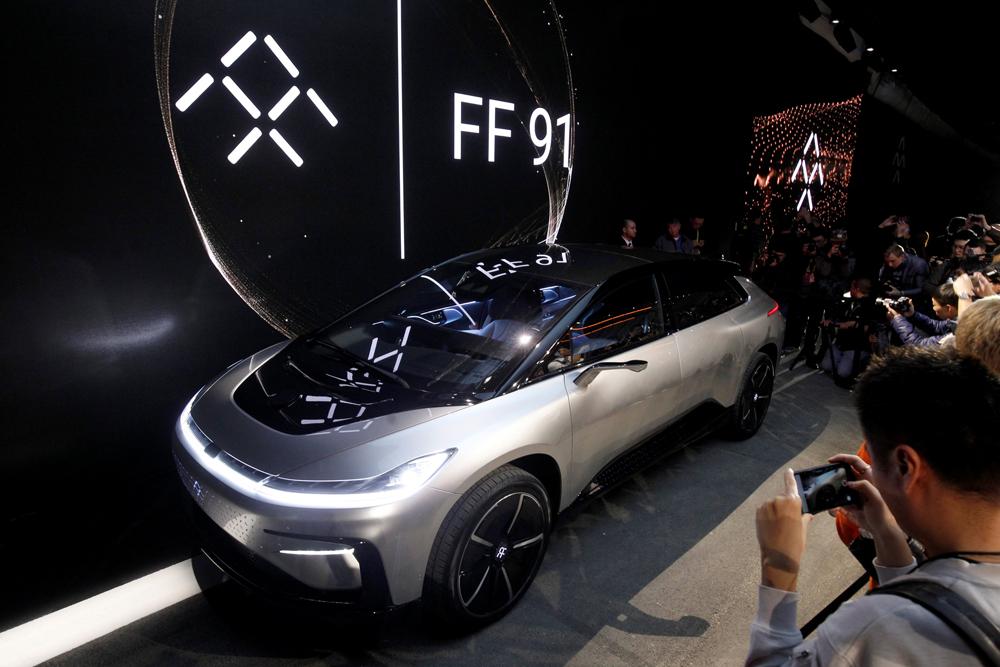 视首架首款量产汽车FF91,推出不足两日即接获逾6万架的订单/路透高清图片