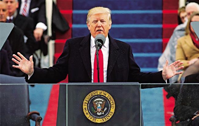 特朗普宣誓就職 抗議支持冰火兩重天