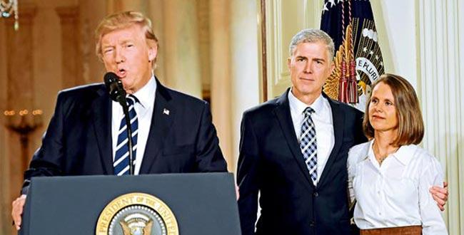最高院保守派勢添翼 特朗普提名戈薩奇任大法官