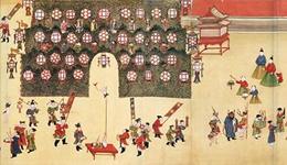 古画中的元宵节:明宪宗身着盛装 民间街市人头攒动