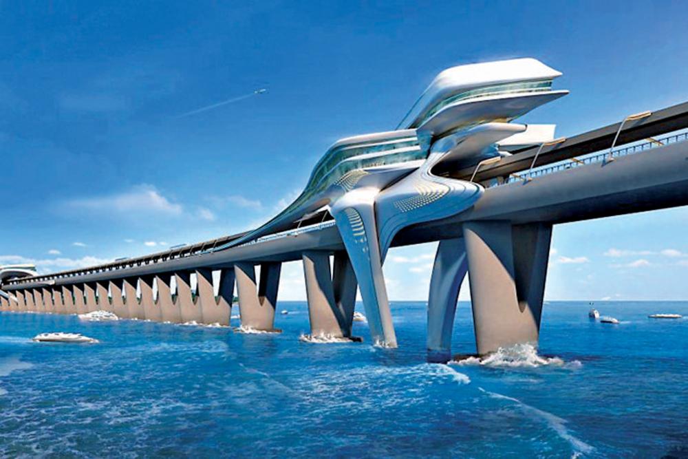 图:海口如意岛跨海大桥设计图/网络图片