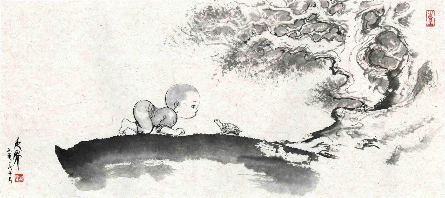 """权迎升""""禅画小和尚""""水墨艺术展上海开幕"""
