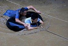 广西融水遭遇洪水袭击