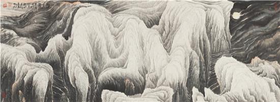 """《关山雪月图》   先生识高。眼高者未必识高,识高者必眼高。眼高者对优秀者(包括作品)多知未必解,识高者则知而有解、且系统之解。中国绘画历数千年,如谢赫、王维、荆浩、郭熙、黄公望、董其昌者于绘画之论多有贡献,而其涉或精密或宏大。中国近代绘画史上的黄宾虹、徐悲鸿、林风眠、潘天寿、傅抱石等亦画论兼擅,中国当代的画家能对艺术有自己独立且讲得通的想法的就已不错,画论就更不要逞说了。20世纪后半叶路怀中先生则就中国绘画的""""根本""""水墨画方面创建性的、系统提出了""""人类最原始的审美情"""