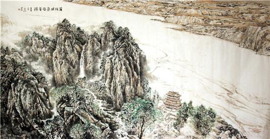 《蒲坂胜景鹳雀楼》海纳国际酒店收藏 尺寸:3.7m×2.