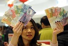 迎新年!香港市民排长队换新钞